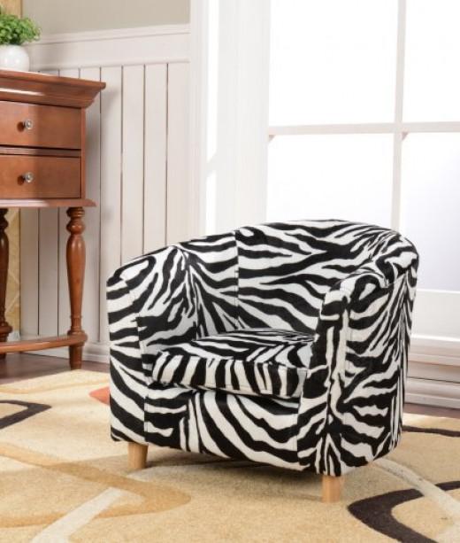 Boys' or Girls' Round-Back Zebra Print Club Design Arm Sofa Chair for Kids'