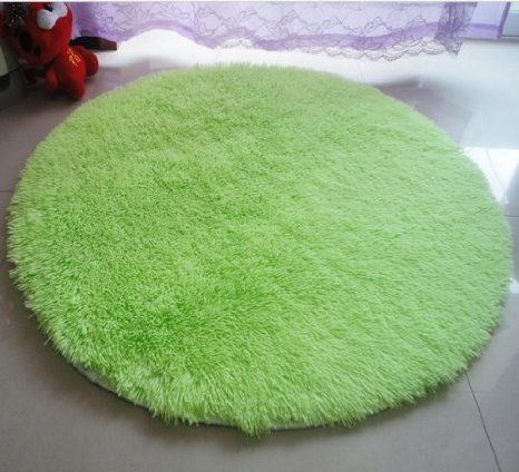 Neon Green Round Area Rug for Girls' Tween & Teens' Rooms