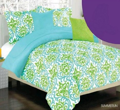 Turquoise and Lime Bedding Set