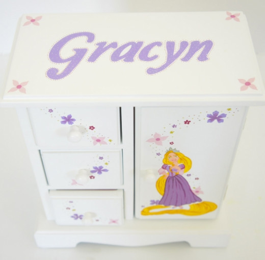 Personalized Musical Jewelry Box for Girls - Rapunzel from NanyCrafts.com