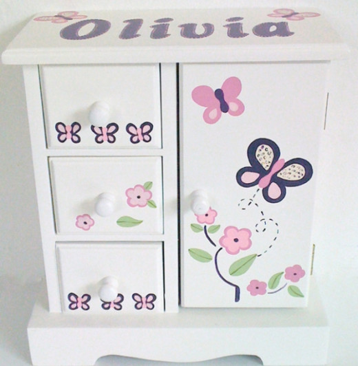 Violet Butterflies Personalized Musical Jewelry Box for Girls From NanyCrafts.com