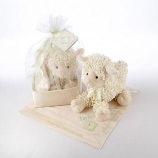 Love Ewe Plush Lamb and Lovie Gift Set in Organza-and-Satin Drawstring Bag - Personalized