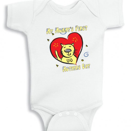 My Mommy's First Mothers Day Red Heart - personalized baby onesie