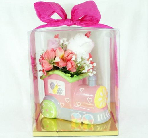 Floral baby gift set Planter Pink Train and 2 Onesies - Gift Wrap
