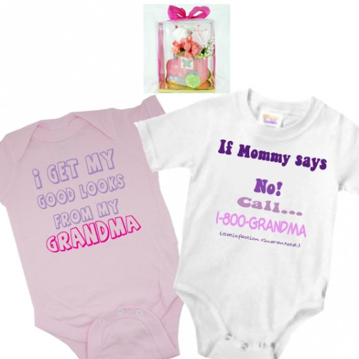 Floral baby gift set Planter Pink Train and 2 Onesies - Custom onesies designs