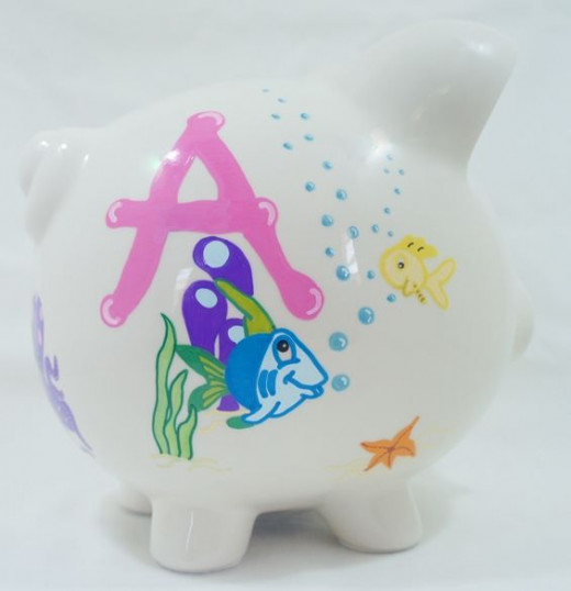 Sea Life Creatures 3 - Personalized piggy bank for kids from nanycrafts.com