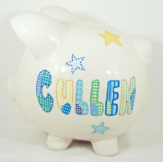 Cute Shiny Night 1 - Personalized piggy bank for kids from NanyCrafts.com