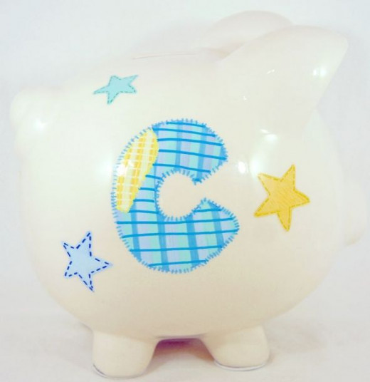 Cute Shiny Night 2 - Personalized piggy bank for kids from NanyCrafts.com