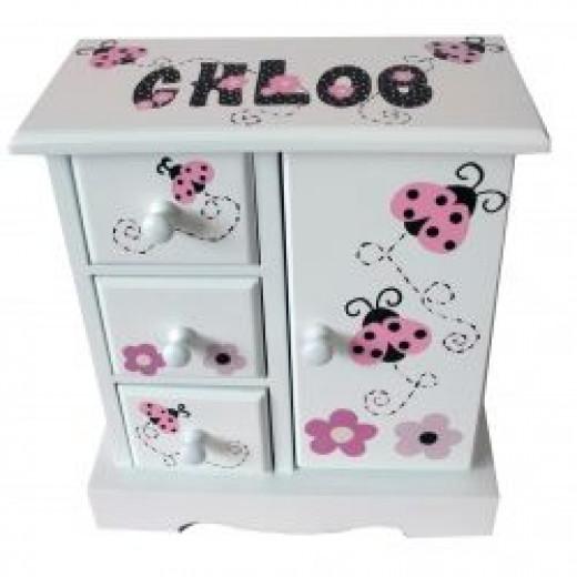 Musical Jewelry Box - Pink Ladybugs