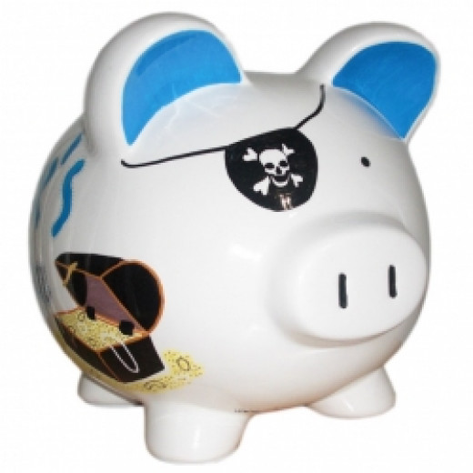Pirate Piggy Bank And Treasure