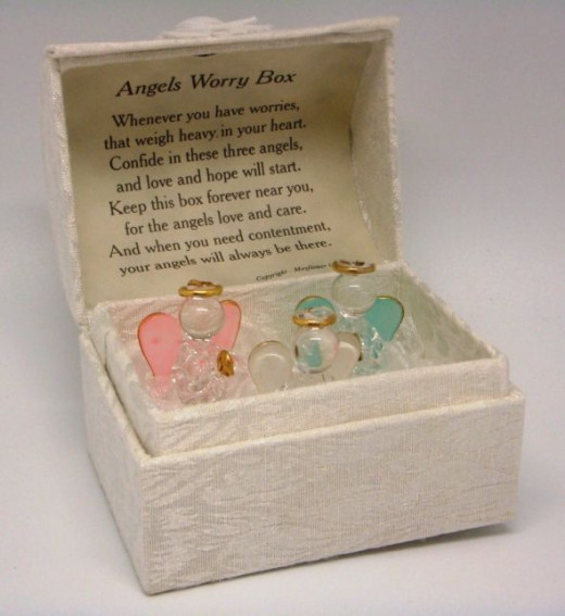 Angel Worry Box with 3 Glass Angels