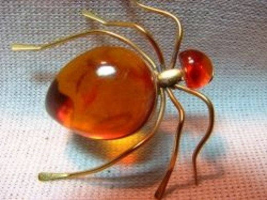 Amber Ant and Gold Filled Russian Brooch
