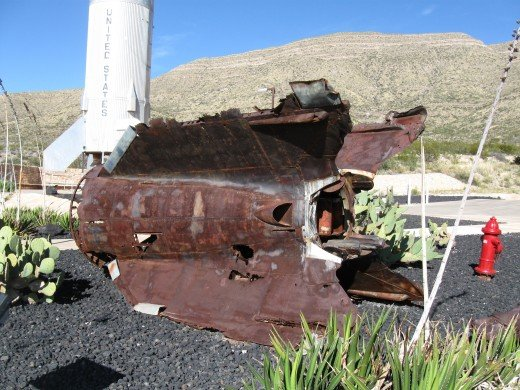 Remains of a German V-2 Rocket that crashed in the desert following a successful test flight in the White Sands Missile Range