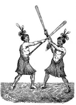 Maori fighting with taiahas.