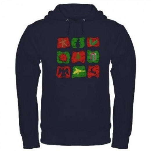Warm up with this cool navy blue Christmas sweatshirt!