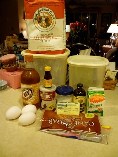 All the ingredients needed to make Butterbeer cupcakes, frosting, and ganache!