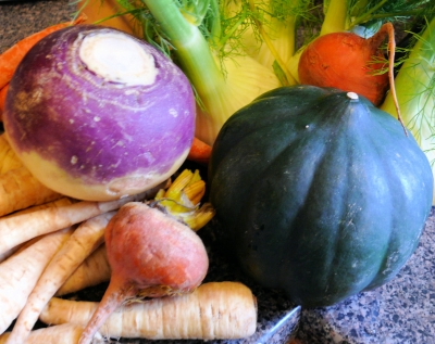 Some of the fresh winter root vegetables included in this recipe - parsnips, rutebegas, acorn squash, fennel, beets, and carrots