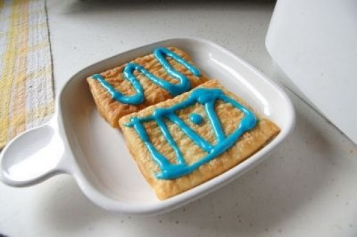 Toaster Strudels, with some sort of blue colored frosting.