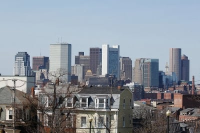A view of Downtown Boston from Southie, Telegraph Hill.