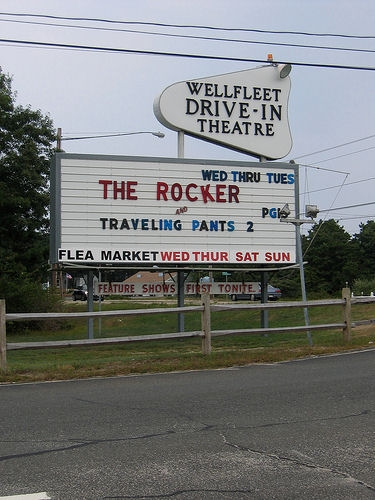 The sign for the Wellfleet Drive In Theatre, Seen on Route 6.