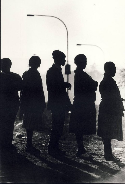 Voters queue to vote in Soweto. Photo by Paul Weinberg