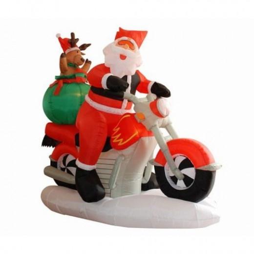 Inflatable santa on harley motorcycle