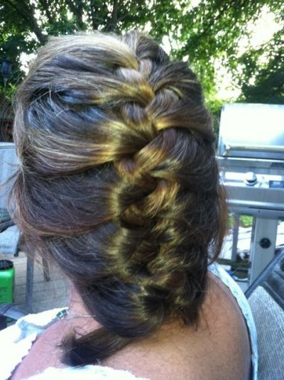 My hair in a french braid. I used Moroccon Hair Oil Spray to hold it.