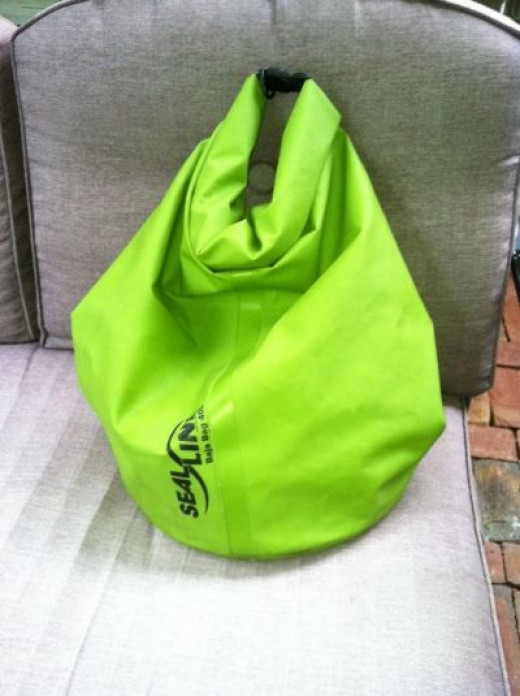 My jet ski dry bag folded and ready for wave runner action.