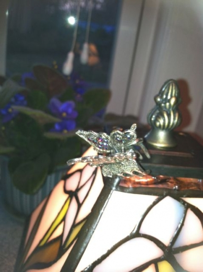 I clipped my Mom's butterfly hair clip to the top of the lamp where it is safe until I wear it next time.