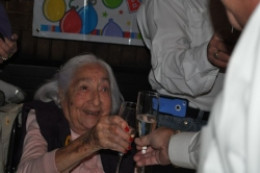 helping the elderly walk - mom at her 95th birthday party