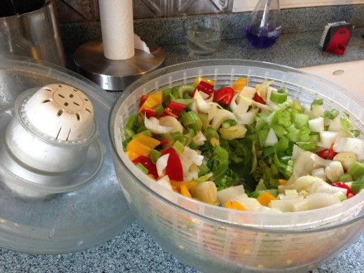 My salad is ready to go into the fridge right in the salad spinner.
