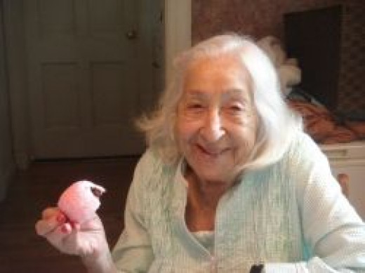 94 year old with cupcake