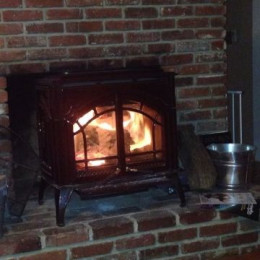 My woodstove creates a roaring blaze and can get my living room up to 90 degrees in short order.