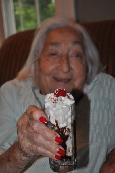 The happy recipient of the first Brown Cow Dessert Shooter - 94 year old mama, Gert