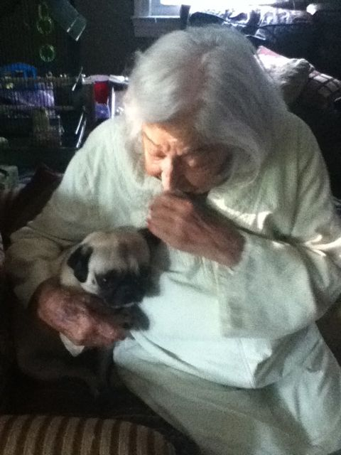 Our little dogs help cheer up my darling Mom, Gertie. Here she is with her favorite, pug Matee.