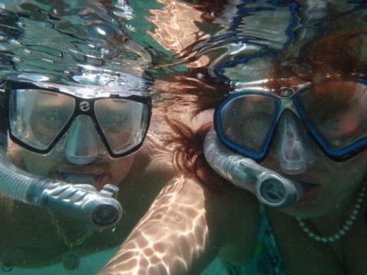 John and me snorkeling at Isla Mujeres