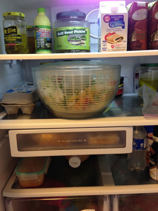 My salad spinner is always loaded and ready to go in my fridge.