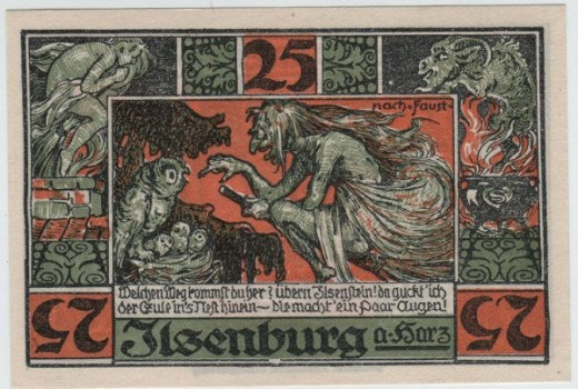 Ilsenburg Notgeld: witch and owl