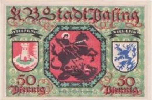 German Notgeld: Saint George slaying a dragon