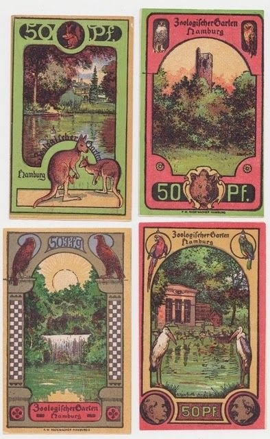 Hamburg zoo notgeld: A beautiful set from 1922, great saturated colors, very nice!