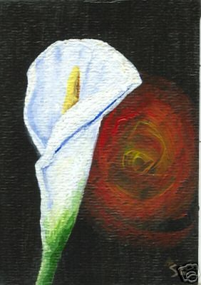 I was painting a calla lilly, and it always seemed something angry was standing behind me.