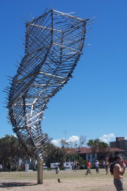 Created by Jarrod Taylor and made from prefabricated structural steel, tube, fitting scaffold. According to Jarrod, his sculpture endeavours to push and discover new directions in art with mediums not used before.