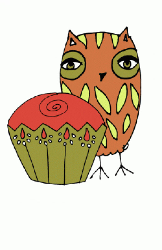 Owl and Cupcake Clipart Free