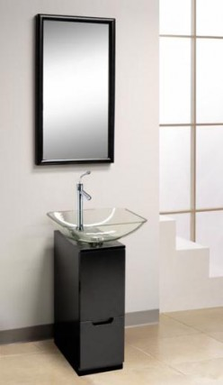 Small bath vanities don't take up much space, but still let you store toiletries conveniently