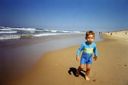 Aged 15 months wearing UV protected swimwear