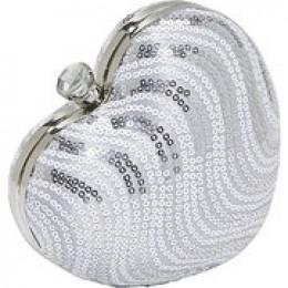 Magid Sequin Stripe Heart Clutch