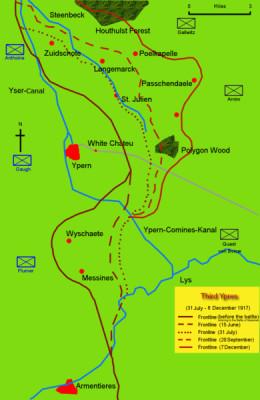 Map of the Battle of Passchendaele