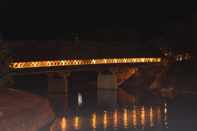 Covered Bridge At Night, As Seen From River Place Bridge