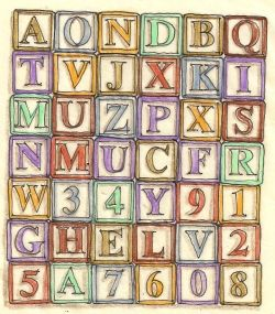 Alphabet blocks (by the author) all rights given to the Public Domain