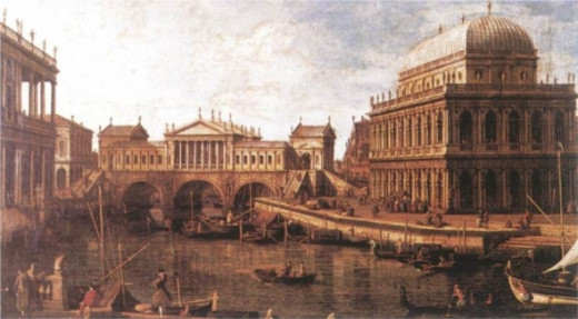 The Rialto Bridge as Canaletto thought Palladio might redesign it.